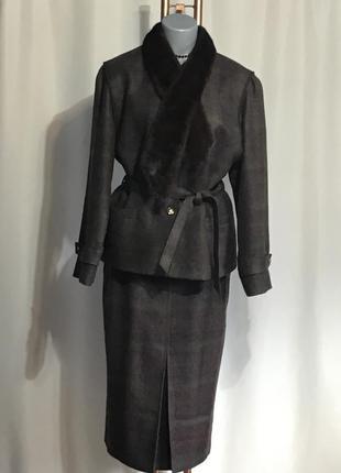 Винтаж,люксовый шерстяной костюм с норкой,шикарный костюм из 100% шерсти marcona design