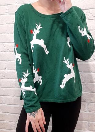 Свитер, теплый свитер, свитер оверсайз, свитер с оленями