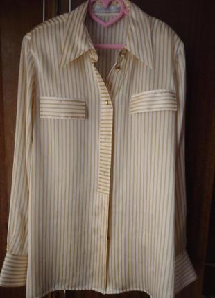 Шелковая блуза рубашка в полоску, 100% шелк 200928