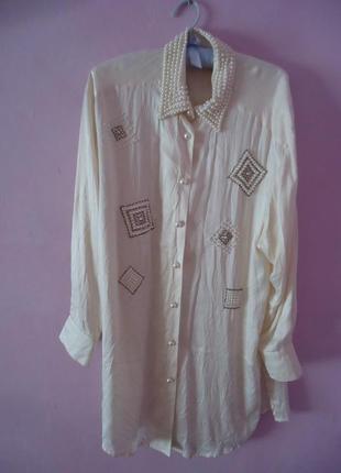 Роскошная длинная шелковая блуза, 100% шелк 200828