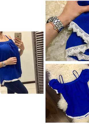 Шикарная синяя свободная блуза с кружевом / открытые плечи italia
