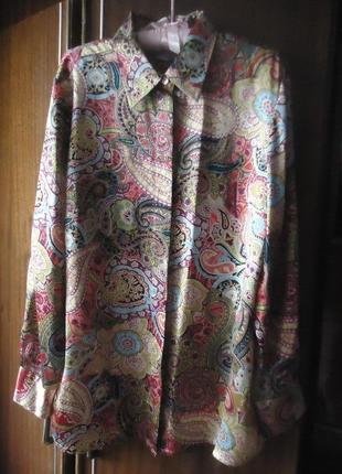 Шелковая яркая блуза peter hahn, 100% шелк