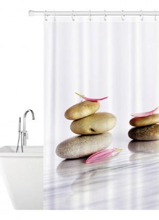 Штора для ванной tatkraft stone garden textile, 180*180 (2 магніта+12колец) 14824