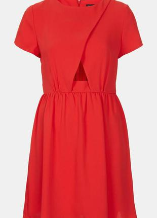 Оригинальное яркое алое платье с перфорацией от topshop.