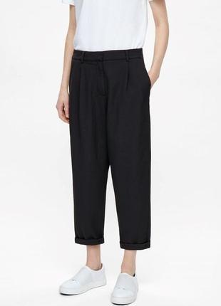 Базовые чёрные шерстяные брюки cos скандинавский минимализм