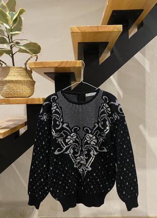 Винтажный свитер с красивым принтом s-m