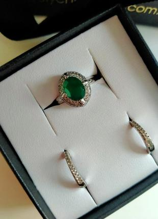 Серебро 925проба ,набор кольцо +серьги