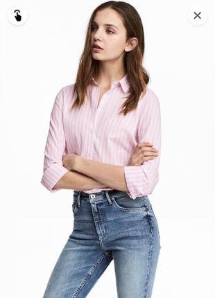 H&m белая рубашка в розовую полоску, сорочка, блузка