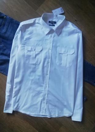Белая рубашка оверзайз, сорочка, блузка, бойфренд, с карманами, прямая