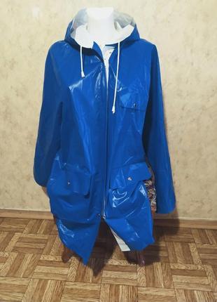 Бело синий двусторонний плащ дождевик