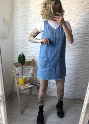 Джинсовый комбинезон сарафан плотный прямого кроя с необработанным низом платье как zara