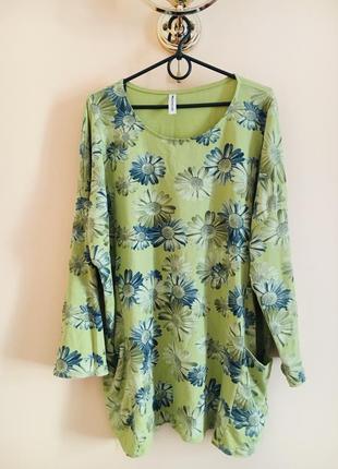Батал большой размер стильный котоновый свитшот худи кофта блуза туника