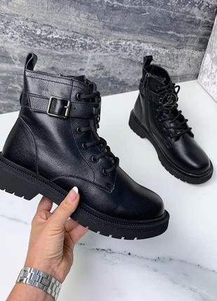 Зимние ботиночки =plps= пресскожа, черные