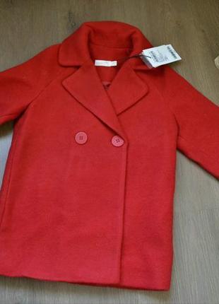 Красное шерстяное пальто name it, 128/134