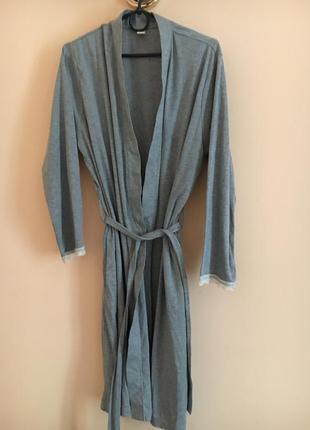 Батал большой размер стильный серый халат халатик котоновый