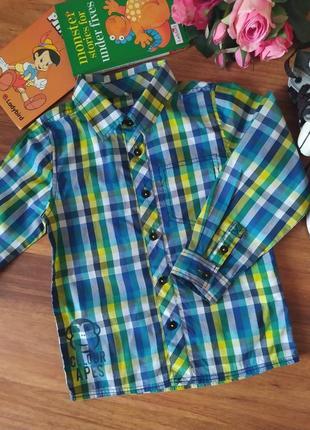 Шикарная хлопоковая рубашка в клетку name it на 3-4 года.