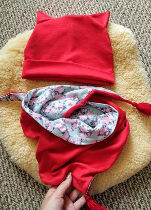 Шапка шарф шарфик набор хомут деми котик zara mango