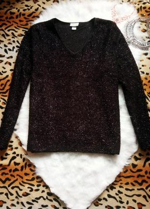 Черный блестящий свитер с вырезом кофта с люрексом металл нитка серебряная батал
