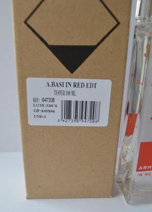Armand basi in red туалетная вода тестер 100 мл. испания. оригинал.