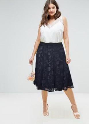 Двухслойная юбка m&s uk 18 хxxl черная