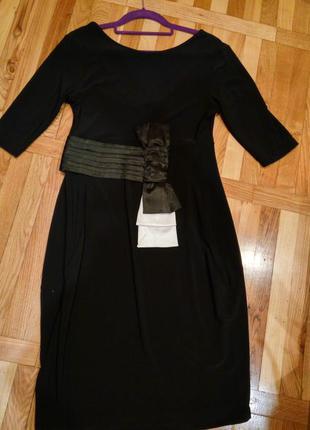 Маленькое чёрное платье миди бант открытая спина