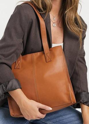 Итальянская кожаная сумка шопер