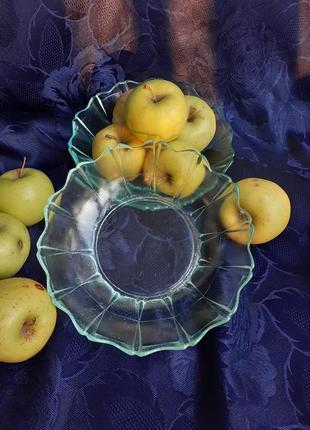 Пара салатников фруктовниц ваза ссср стекло морская волна