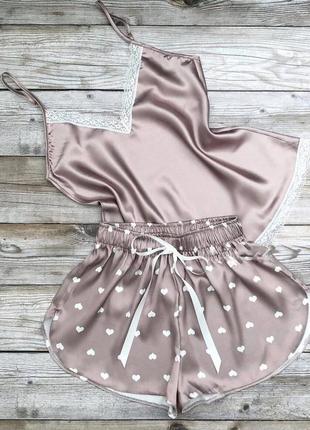 Пижама атлас, женская, шорты + майка, р-р s m l xl 2xl 3xl, беж, турция