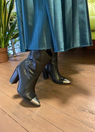 Казаки bronx ковбойки сапоги женские полуботинки кожаные казаки черные казаки