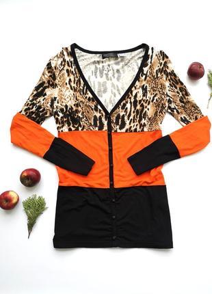 Красивая оверсайз кофта джемпер на пуговицах bpc  полосатая леопардовая