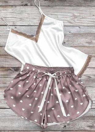 Пижама атлас, женская, шорты + майка, комплект для дома, белая + беж, разм s - 3xl  турция