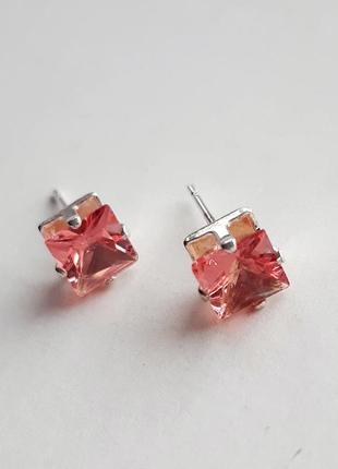 Серебряные серьги-пусеты с розовым кварцем, серебро 925 проба. арт.100/11