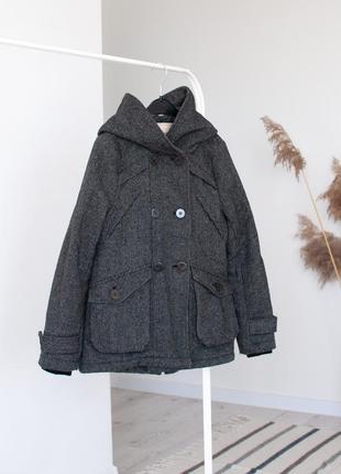 Осеннее пальто, короткое пальто куртка pull&bear теплое полупальто, серое пальто