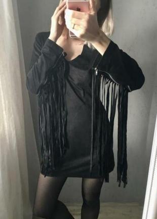 Платье чёрное с бахромой под замш