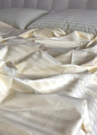 Комплекты постельного белья всех размеров страйп сатин шампань, постільна білизна