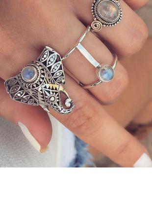 Набор колец кольца в бохо этно стиле со слоном