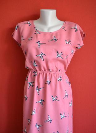 Летнее хлопковое платье в птичках от f&f