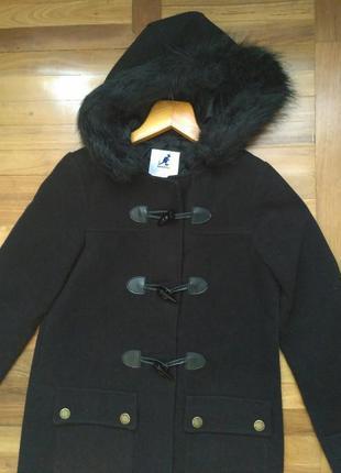 Стильное полупальто пальто женское с капюшоном kangol xs-s  парка женская дафлкот
