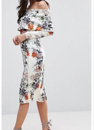 Роскошное платье миди с открытыми плечами asos