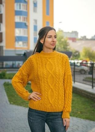 Горчичный свитер 20 % шерсти , тёплый турция