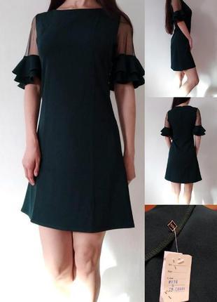Платье с шифоновыми вставками на рукавах