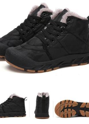 Черные водонепроницаемые камуфляжные утепленные натуральным мехом ботинки 36 р.