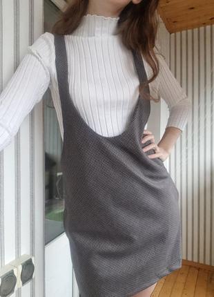 Серый сарафан  платье в мелкую клетку на бретелях zara