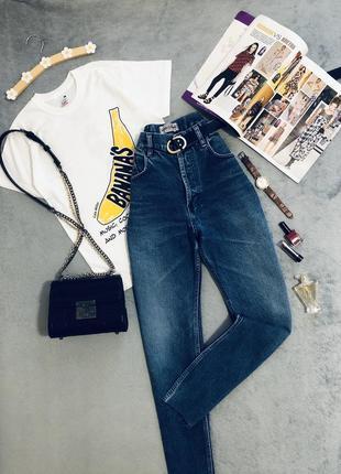 Качественные котоновые джинсы мом/ с необработанным краем/ очень высокая посадка.италия.