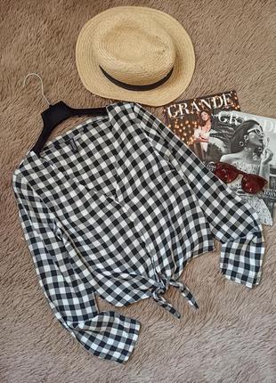 Красивая рубашка в клетку на завязке/блузка/блуза/кофточка