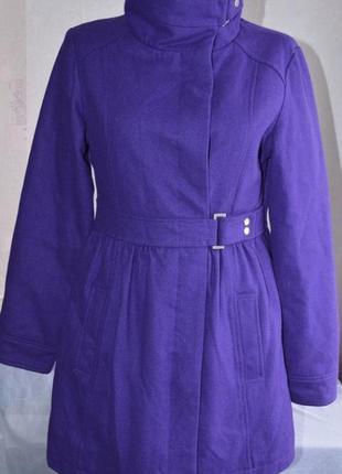 Брендовое фиолетовое шерстяное демисезонное подростковое пальто с карманами autograph