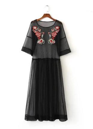 Платье сетка прозрачная туника футболка с вышивкой цветов