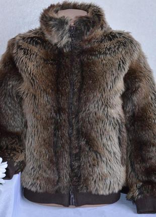 Брендовая подростковая демисезонная меховая короткая куртка на молнии f&f акрил