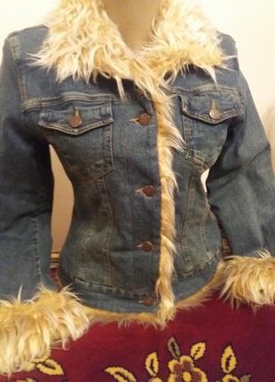 Куртка жакет пиджак джинсовая теплая