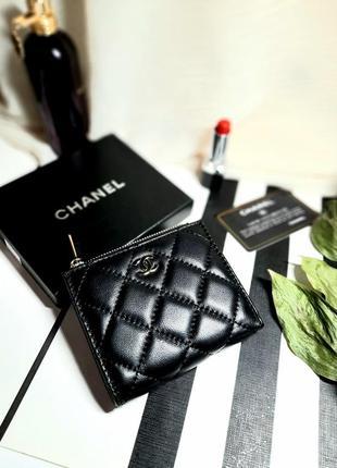 Компактный кошелек портмоне кожаный chanel черный